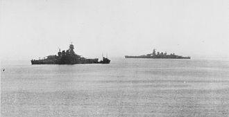 Italian battleship Vittorio Veneto - Vittorio Veneto (right) and Littorio (left) in Malta following the sinking of Roma