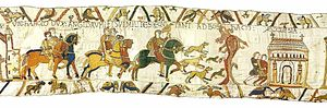 "Bosham - In the Bayeux Tapestry's second scene, ""Where Harold, Earl of the English, and his knights ride to Bosham Church."""