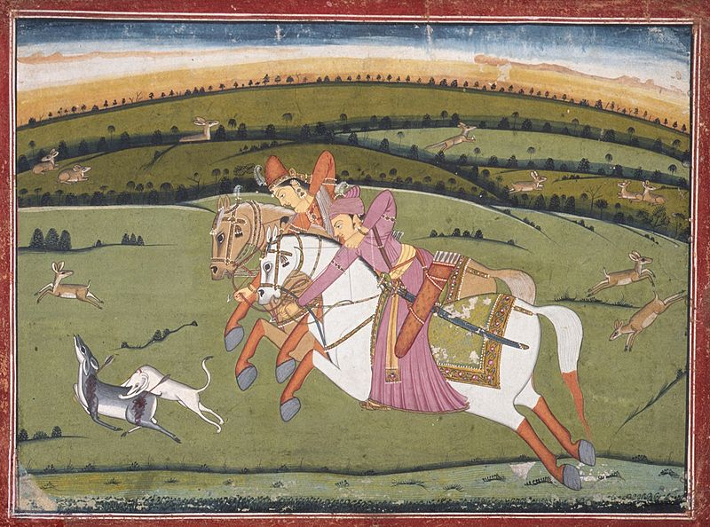 File:Baz Bahadur and Rupmati Hunting (recto), Sketches (verso) LACMA M.80.55.jpg