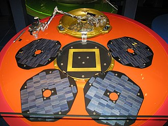 Mars Express - A replica of the Beagle 2 lander component of Mars Express at the Science Museum London.