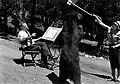 Bear artist with bear at Yellowstone National Park. (Artist is Walter Oeable, of Omaha, NE). (cb5bc0b011da40618e031bb2412d581b).jpg