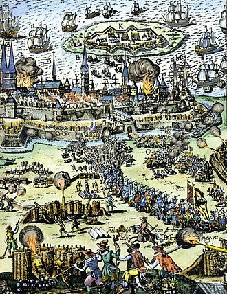 Siege of Stralsund (1628) - Contemporary colored engraving