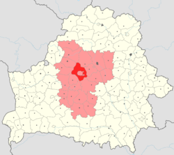 Minsk Raion (red) within Belarus.Minsk Voblast is highlighted in purple