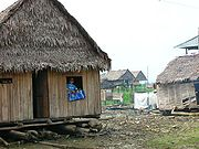 A typical house in Belén, where many are built so they can rise and fall with the water level.