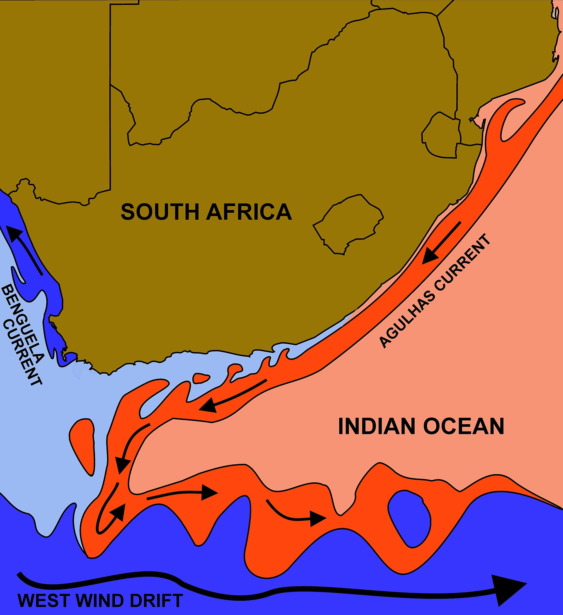 where do the benguela and mozambique currents meet browns