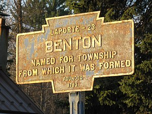 Keystone Markers - Keystone marker for Benton, Columbia County, Pennsylvania.  Many of the markers are currently damaged or in need of maintenance.