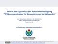 """Bericht der Ergebnisse der AutorInnenbefragung 2016 """"Willkommenskultur für NeuautorInnen bei Wikipedia"""".pdf"""