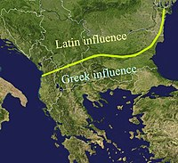 La Ligne Jireček (du nom de l'historien qui l'a déterminée Konstantin Josef Jireček) montre les zones de romanisation (au nord) et d'héllénisation (au sud) des Thraces