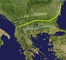 Mapa del sureste de Europa, delineando la influencia romana y griega