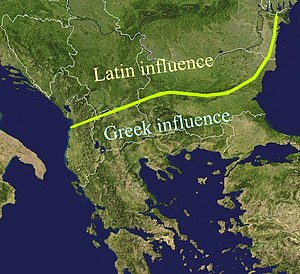 Aromanians - The Jireček Line is an imaginary line that shows where Latin and Greek influences meet in the Balkans, according to epigraphic archaeological data.