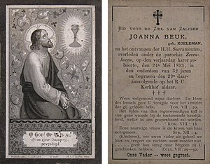 Front and Back of Dutch In memoriam card, prin...