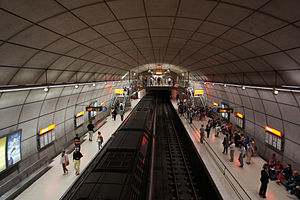 Metro Bilbao - Abando station has the usual design for cavern stations