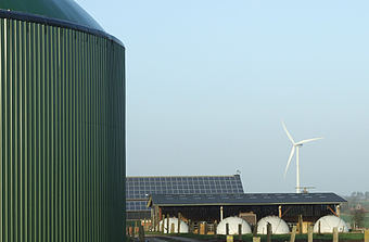 View of a farm in Horstedt, Germany, using biogas, wind power and photovoltaics
