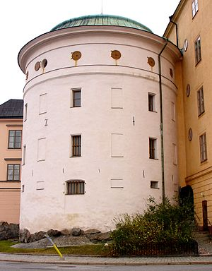 Stockholm during the early Vasa era - The lower walls of Birger Jarls torn are the only surviving part of the medieval defensive structures.