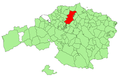 Location of Mungia in Biscay.