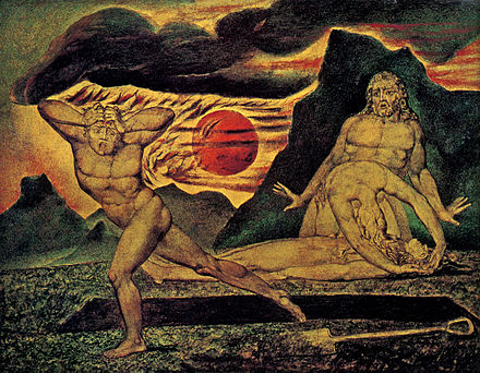 The Body of Abel Found by Adam and Eve, c. 1825. Watercolour on wood. Blake-Abel.jpg