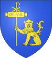 Azure, a lion sejant regardant (cowardly?) or, holding a chi-rho staff labelled Civ Arel