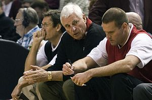 Texas Tech Red Raiders basketball - Bob Knight (middle) with Pat Knight (right)