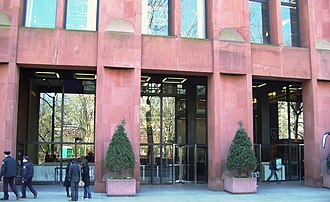 Elmer Holmes Bobst Library - The entrance to the library on Washington Square South