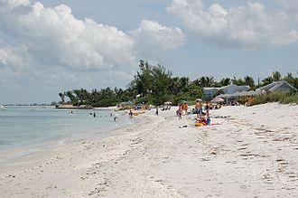 Boca Grande, Florida - Public beach on Gulf Blvd, looking North.