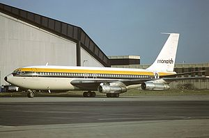 Monarch Airlines - Monarch Airlines Boeing 720, in livery of the era, at London Luton Airport in 1979