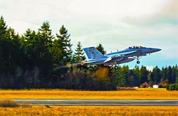 Boeing EA-18G Growler attached to VAQ-129 in afterburner during FCLP at NOLF Coupeville.
