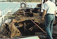 Bomb damage aboard USS Reeves (CG-24), from accident on 30 October 1989