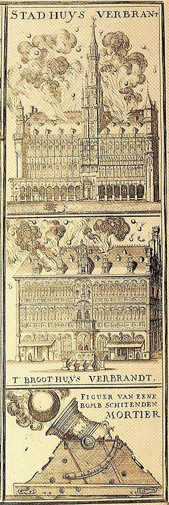 Bombardment of Brussels - Top: The Town Hall burning Middle: The Breadhouse burning Bottom: Diagram of a mortar