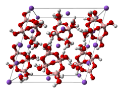 Baw-an-stick model o the unit cell o borax decahydrate