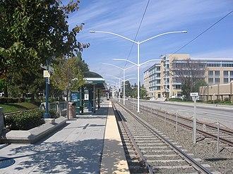 Borregas station - Looking west along southbound platform, 16 September 2012