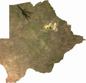 Geography of Botswana - Image: Botswana sat