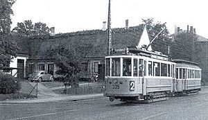 Brønshøj Rytterskole - A tram passing Brønshøj Rytterskole in 1961