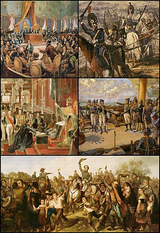 War of Independence of Brazil - The Portuguese Cortes; Portuguese troops in Brazil, Pedro I on board the frigate Union; Pedro I declares the Independence of Brazil, Pedro I crowned Emperor of Brazil.