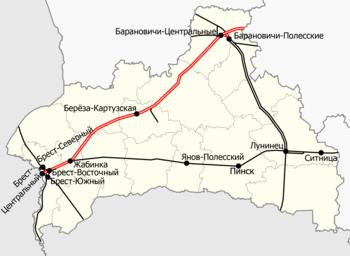 Железные дороги в Брестской области. Важнейшие станции подписаны,  электрифицированные участки выделены красным. 7ce8ac59c98