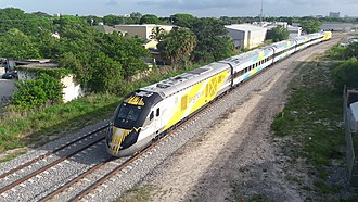 High-speed rail in the United States - Brightline train in West Palm Beach, Florida