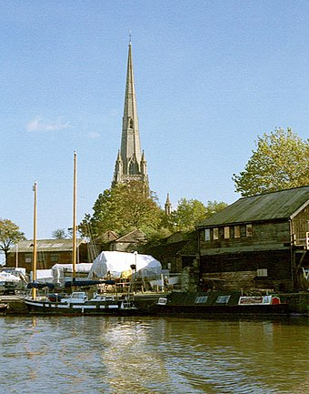 St Mary Redcliffe church and the Floating Harbour, Bristol Bristol-St Mary Redcliffe-Docks.jpg