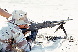 FN MAG - A U.S. Marine firing the British L7A2 version of the MAG.