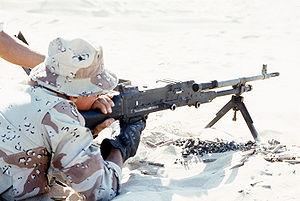 FN MAG - A U.S. Marine firing the British L7A2 version of the MAG.