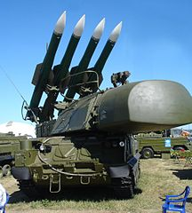 From commons.wikimedia.org/wiki/File:Buk-M1-2_9A310M1-2.jpg: Russian BUK missile system