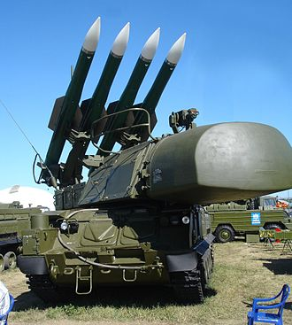 Malaysia Airlines Flight 17 - A mobile Buk surface-to-air missile launcher, similar to that concluded to have been used in the incident