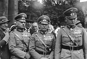 Blomberg–Fritsch affair - Left to right: General Gerd von Rundstedt, General Werner von Fritsch and Colonel General Werner von Blomberg; Neue Wache, Berlin, 1934