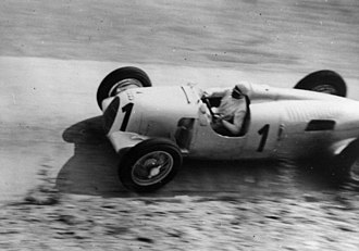 German Grand Prix - Bernd Rosemeyer racing a Auto Union Typ C in 1937, he finished third.