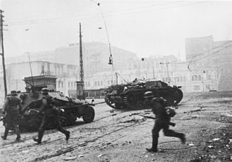 First Battle of Kharkov - German infantry and armored vehicles battle Soviet defenders on the streets of Kharkov