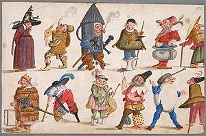 Ludovico Ottavio Burnacini - Image: Burnacini costumes nani e maschere 1680