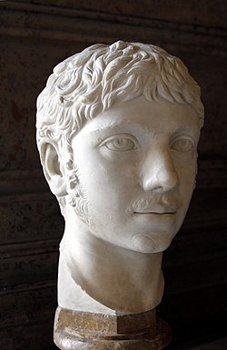 White head statue of a young man