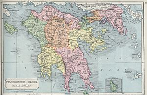 Peloponnese - Map of the Peloponnese of classical antiquity