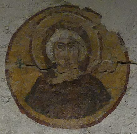 "From the Necropolis of Al Bass, dated 440 CE: ""possibly the oldest fresco of the Virgin Mary worldwide."" (National Museum of Beirut) ByzantineTomb-Tyre-VirginMaryHalo NationalMuseumOfBeirut RomanDeckert06102019.jpg"