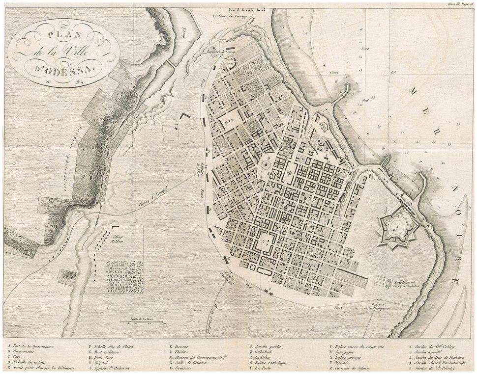 CASTELNAU(1827) p3.039 PLAN DE LA VILLE D' ODESSA EN 1814