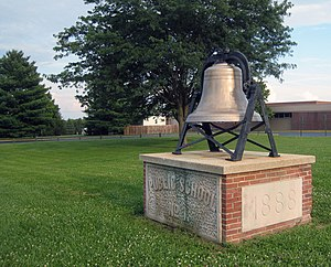 Connersville High School - The bell is a popular landmark at the entrance to the campus.