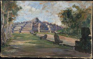 Max Fleischer (painter) - Image: COLLECTIE TROPENMUSEUM Olieverfschilderij schets van de Borobudur T Mnr 6345 1